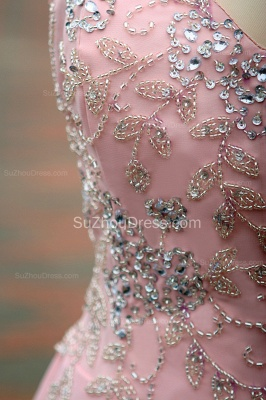 Elegant Pink Prom Dresses Jewel Sequined Crystal Beading Knee Length  Zipper Chiffon Evening Gowns_8