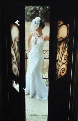 Spaghetti Strap White Sexy Mermaid Bridal Gown  New Arrival Lace Detachable Train Wedding Dress_4