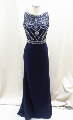 Sexy Dark Navy Sleeveless Prom Dresses A-Line Floor Length Evening Dresses with Beadings_1