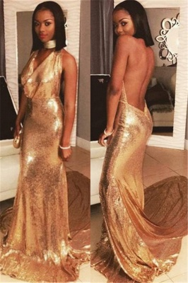 Halter Backless Sequins Prom Dresses Sexy | Gold Sequins V-neck Evening Gown with Long Train_1