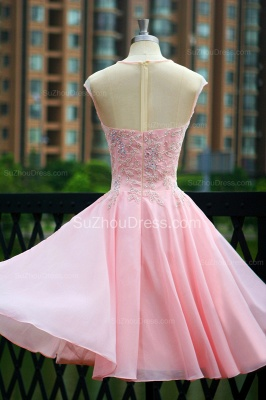 Elegant Pink Prom Dresses Jewel Sequined Crystal Beading Knee Length  Zipper Chiffon Evening Gowns_7
