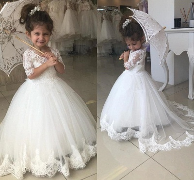 Cute Half Sleeves Lace Flower Girl Dresses  | Tulle Ball Gown Wedding Party Dresses_3