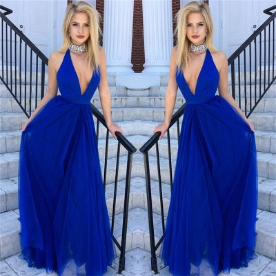 Crystals Beads Choker Evening Dresses  Deep V-neck Royal Blue Tulle Formal Dress_3
