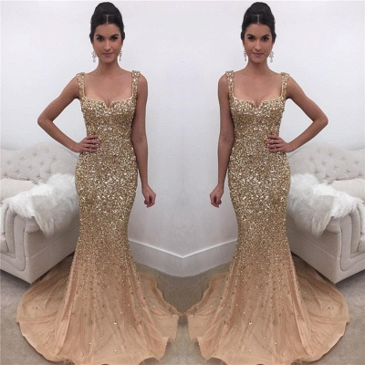 Sexy Mermaid Shiny Crystals Sequins Evening Dresses  Sleeveless Gorgeous Prom Dress_3