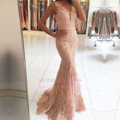 Mermaid Pink Lace Formal Dress   Sexy Long Evening Dresses BA6398_3