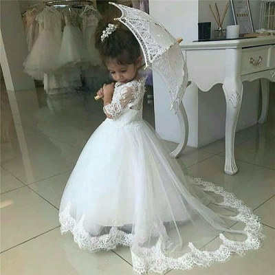 Cute Half Sleeves Lace Flower Girl Dresses  | Tulle Ball Gown Wedding Party Dresses_4