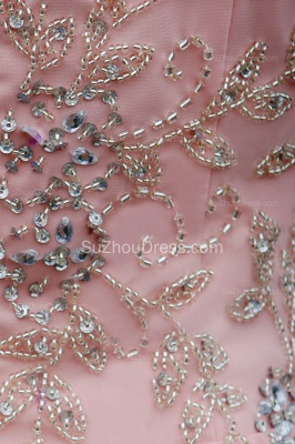 Elegant Pink Prom Dresses Jewel Sequined Crystal Beading Knee Length  Zipper Chiffon Evening Gowns_4