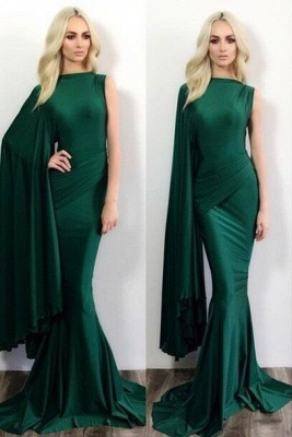 Simple Mermaid Green One Shoulder Evening Dress Latest Ruffles Formal Occasion Dresses_1