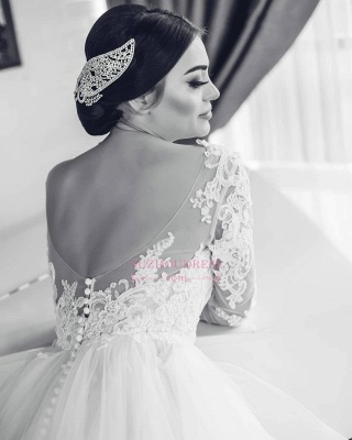 White Lace-Appliques Wedding Dresses |  Open-Back Long-Sleeves Bridal Gowns_1