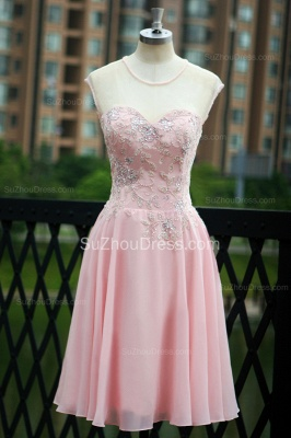 Elegant Pink Prom Dresses Jewel Sequined Crystal Beading Knee Length  Zipper Chiffon Evening Gowns_2