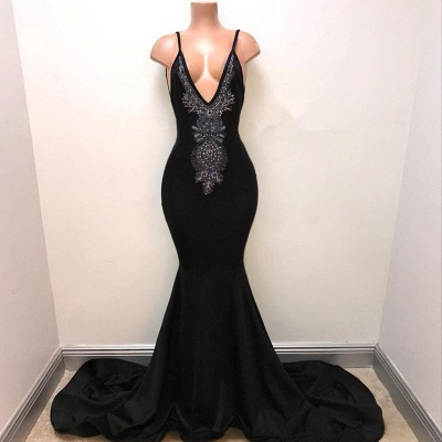 V-neck Straps Sexy Black Prom Dress | Mermaid Beads Sexy Evening Gown_3