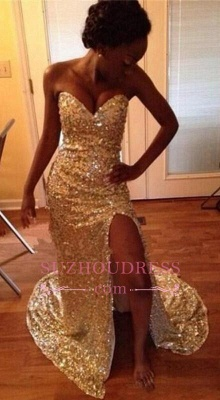 Mermaid Sparkly Sweetheart  Evening Dresses Split Gold Sequins Prom Dresses BA5022_2