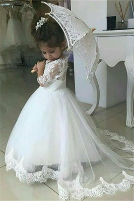 Cute Half Sleeves Lace Flower Girl Dresses  | Tulle Ball Gown Wedding Party Dresses