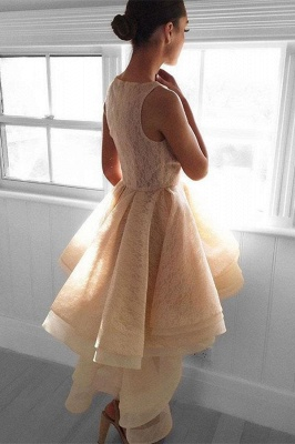 Champagne Lace Hi-Lo Homecoming Dresses 2019   Sleeveless Tiered  Hoco Dresses_3