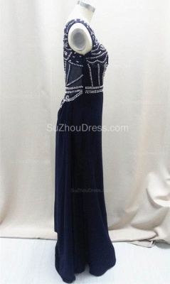 Sexy Dark Navy Sleeveless Prom Dresses A-Line Floor Length Evening Dresses with Beadings_2