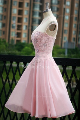 Elegant Pink Prom Dresses Jewel Sequined Crystal Beading Knee Length  Zipper Chiffon Evening Gowns_5