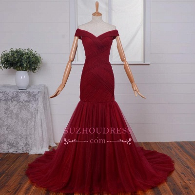 Ruched Mermaid Long Red Formal Evening Gown  Off-the-Shoulder Tulle Prom Dresses_1