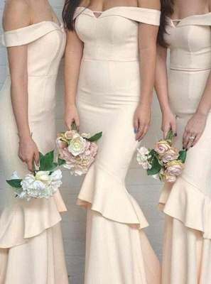 Elegant Mermaid Off-The-Shoulder Sleeves Ruffles Short Bridesmaid Dresses_3