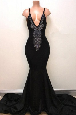 V-neck Straps Sexy Black Prom Dress | Mermaid Beads Sexy Evening Gown_1