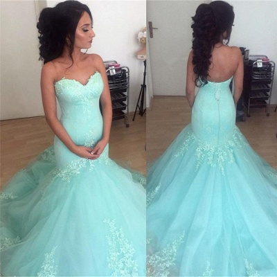 Sweetheart Open Back Lace Tulle Evening Gown |  Sleeveless Sexy Wedding Party Dresses_3