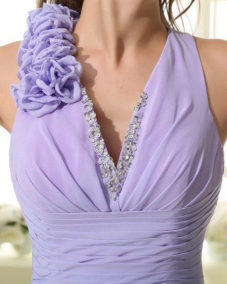 Lavender Chiffon Hi-lo Cocktail Dresses V Neck Sleeveless Flowers Cascading Ruffles Charming Homecoming Gowns_3