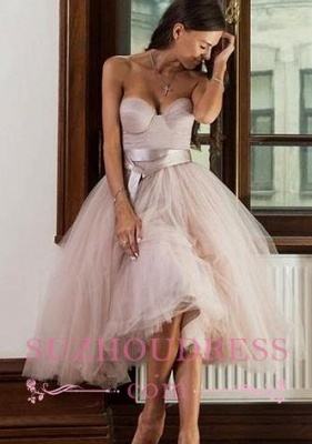 Ankle Length Sweetheart Sashes Evening Dresses  Tulle Pretty  Formal Dress_1