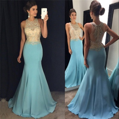 Mermaid Blue Sleeveless Crystals Evening Gowns Beaded Sexy  Prom Dresses BA7933_4