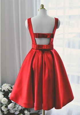 Elegant Red Knee Length Homecoming Dress with Bowknot New Arrival Simple Open Back Dresses for Women_2