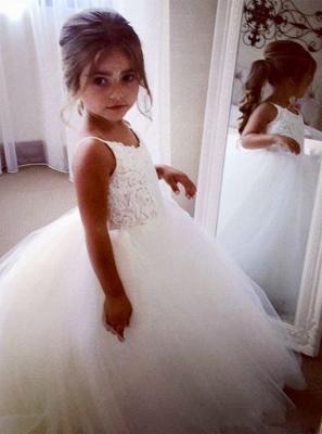 Lovely Sleeveless Spaghetti Straps Lace Flower Girl Dresses | White Tulle Ball Gown Pageant Dresses_3