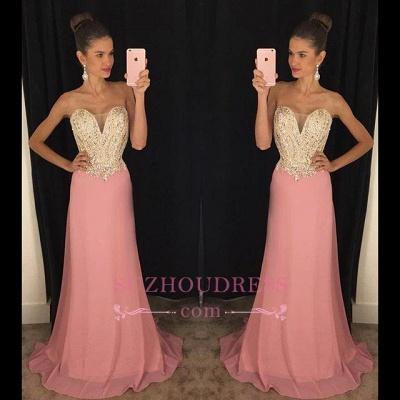 Sheath Latest Beadings Strapless  Chiffon Sleeveless Pink Prom Dresses GA079_3