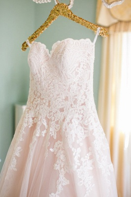 Cute Pink Sweetheart Lace Wedding Dress Latest Custom Made Plus Size Bridal Gown_2