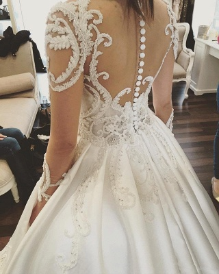 Glamorous Princess Jewel Ruffle White Wedding Dresses See Through Long Sleeves Bridal Gowns with Chapel Train_5