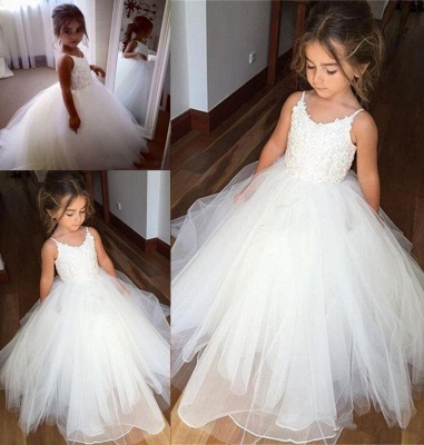 Lovely Sleeveless Spaghetti Straps Lace Flower Girl Dresses | White Tulle Ball Gown Pageant Dresses_4