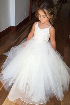 Lovely Sleeveless Spaghetti Straps Lace Flower Girl Dresses | White Tulle Ball Gown Pageant Dresses