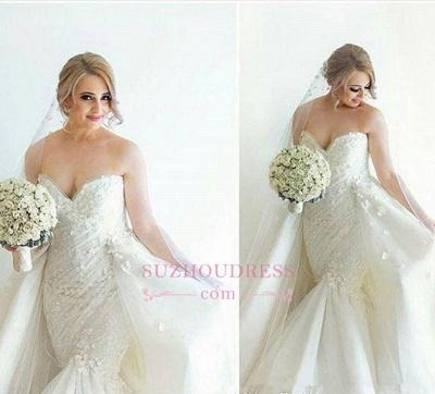 Floral Luxurious Mermaid Detachable-Train Ruffles Open-Back Sleeveless Strapless WEdding Dress_4