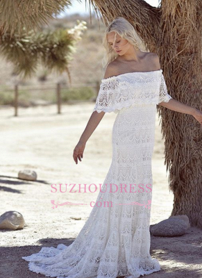 Sweep Train Elegant White Lace Bohemian Beach Wedding Dress Off-the-shoulder Boho Wedding Gowns_5