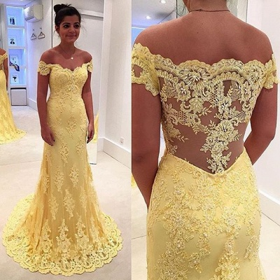 Vintage Off-Shoulder Yellow Prom Dress Mermaid  Evening Gowns With Lace Appliques CE011_3