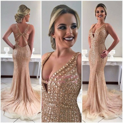 Champagne Gold Mermaid Sleeveless Prom Dress | Crystal Straps Sweep-Train Evening Gowns_1