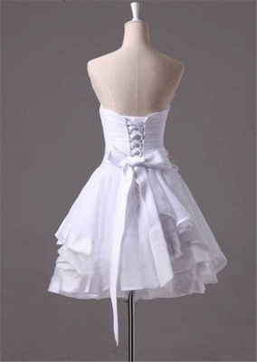 White Sweetheart Ruffles Mini Wedding Dress Latest Organza Short Summer Bridal Gowns_3