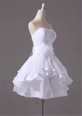 White Sweetheart Ruffles Mini Wedding Dress Latest Organza Short Summer Bridal Gowns_2