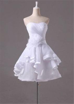 White Sweetheart Ruffles Mini Wedding Dress Latest Organza Short Summer Bridal Gowns_1