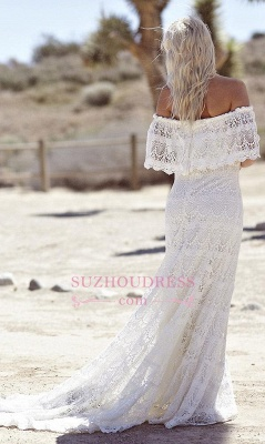 Sweep Train Elegant White Lace Bohemian Beach Wedding Dress Off-the-shoulder Boho Wedding Gowns_4