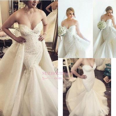 Floral Luxurious Mermaid Detachable-Train Ruffles Open-Back Sleeveless Strapless WEdding Dress_1