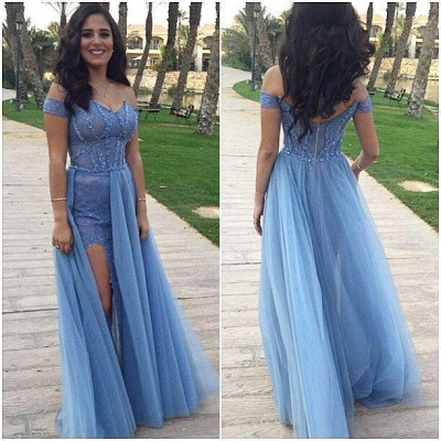 Off-the-shoulder Prom Dresses  Sexy Slit Sheath Evening Gowns_3