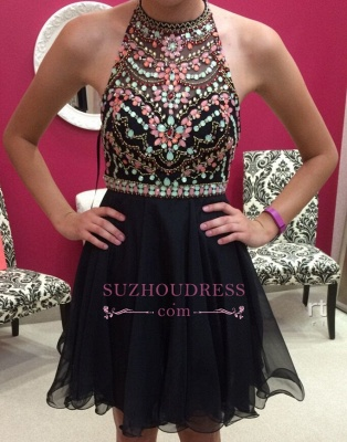 Newest Halter Sleeveless Colorful-Crystals Short Homecoming Dress_1