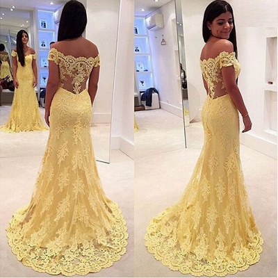 Vintage Off-Shoulder Yellow Prom Dress Mermaid  Evening Gowns With Lace Appliques CE011_4