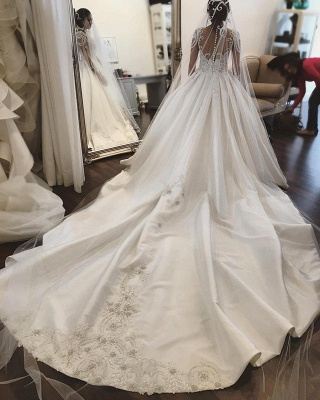 Glamorous Princess Jewel Ruffle White Wedding Dresses See Through Long Sleeves Bridal Gowns with Chapel Train_3