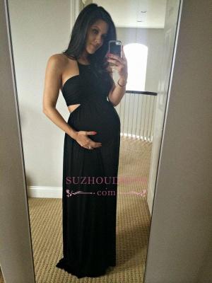 Black Sexy Maternity Sleeveless Halter A-line Long Prom Dress BA4969_1