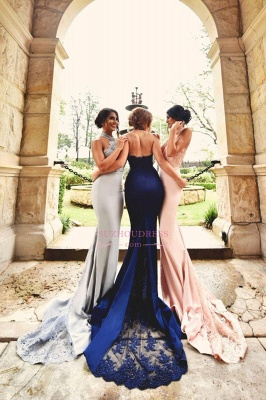 Lace Sexy Appliques Halter Neck   Open-Back Halter Bridesmaid Dresses_1