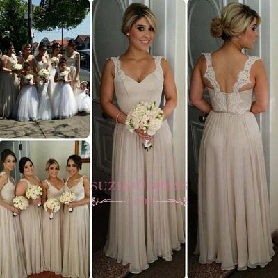 A-line Straps Floor-length Buttons Lace Bridesmaid Dresses_1
